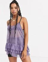 Zya ZYA mesh mini dress with ruffles and gold straps