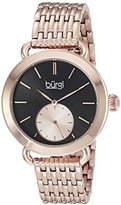 Burgi Women's BUR153RG Rose Gold Multifunction Quartz Watch With Black Dial and Rose Gold Bracelet