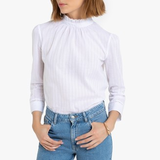 La Redoute Collections Cotton Ruffled High-Neck Blouse with Button-Up Back
