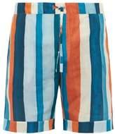 Desmond & Dempsey - Stripe Print Cotton Poplin Pyjama Shorts - Mens - Multi