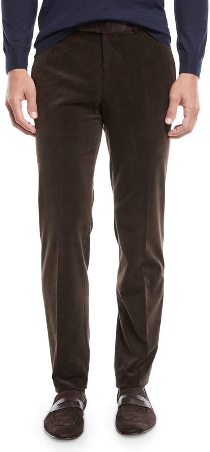 Ermenegildo Zegna Men's Flat-Front Cotton/Cashmere Corduroy Trousers, Brown