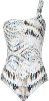 Heidi Klein Ipanema printed one-shoulder swimsuit