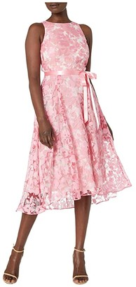 Tahari ASL Party Dress w/ Flare Skirt (Pink/Ivory) Women's Dress