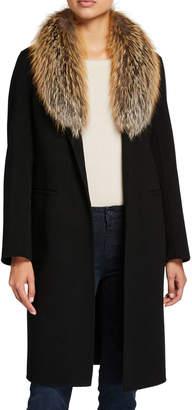 Neiman Marcus Double-Face Cashmere Coat with Fur Collar