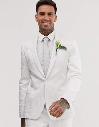 Asos Design DESIGN wedding skinny tuxedo jacket in white jacquard-Cream