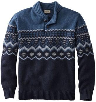 L.L. Bean Men's L.L.Bean Classic Ragg Wool Fair Isle Henley Sweater