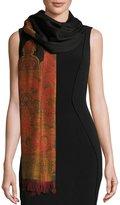 Sabira Lightweight Wool Paisley Shawl, Black