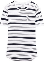 Zoe Karssen Embroidered Striped Stretch Cotton And Modal-Blend T-Shirt