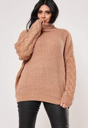 Missguided Plus Size Camel Turtle Neck Cable Sleeve Sweater