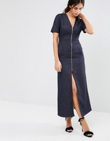 Liquorish Denim Maxi Dress With V Neck And Zip Front