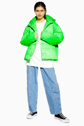 Topshop Womens **Nylon Padded Puffer Jacket By Fluro Green