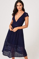 Little Mistress Sacha Navy Crochet Lace Midi Dress