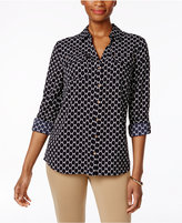 Charter Club Printed Roll-Tab Blouse, Only at Macy's