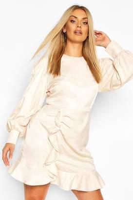 boohoo Plus Oversized Puff Sleeve Ruffle Skater Dress