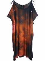 Simeon Farrar Shoulder Tie Jersey Dress in Rust Ombre