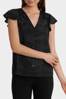 Basque NEW Braid Insert Button Thru Blouse Print Black