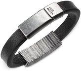 Steve Madden Men's Squared Station Leather Bracelet