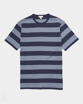 Sunspel Short Sleeve Classic Striped Crew Neck T-Shirt Navy & Blue