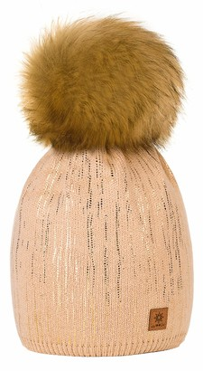 4sold Womens Ladies Winter Hat Wool Knitted Beanie with Large Pom Pom Cap SKI Snowboard Hats Bobble Gold Circle Rain Crystals (Beige)