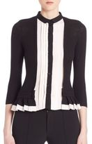 Yigal Azrouel Pleated Two-Tone Cardigan