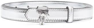 Karl Lagerfeld Paris metallic skinny belt with detail