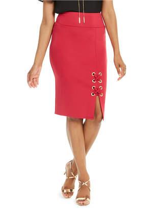 Thalia Sodi Grommet-Trim Scuba Skirt
