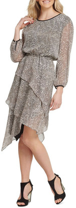 DKNY Long Sleeve Dress with Layered Skirt
