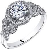 Ice 14k White Gold Engagement Ring 1.00 Carat Center Halo Style