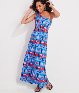 Vineyard Vines Burgee Print One-Shoulder Maxi Dress