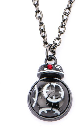 Star Wars Jewelry Women's Episode 8 Black IP BB-9E Spinning Bottom Stainless Steel Pendant Necklace One Size (SALES1SWMD)
