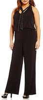 MICHAEL Michael Kors Stud Embellished Tie-Neck Matte Jersey Jumpsuit