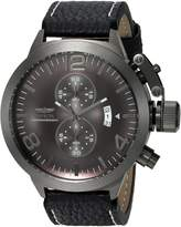 Invicta Men's 'Corduba' Quartz Stainless Steel and Leather Casual Watch, Color:Black (Model: 23689)