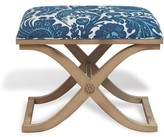 The Well Appointed House Alex Antiqued Ivory Bench with Scalamandre Arcadia Indigo Fabric