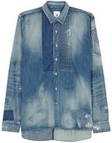 Maison Mihara Yasuhiro Distressed Blue Denim Shirt