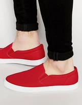 Asos Slip On Plimsolls In Red Canvas