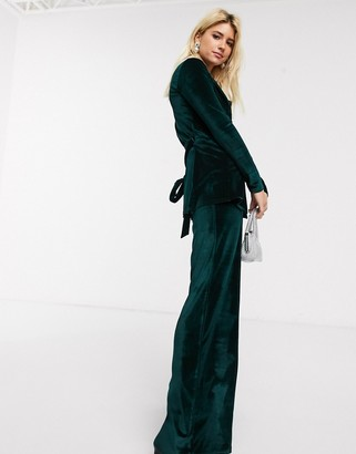 In The Style x Billie Faiers velvet trouser coord in green
