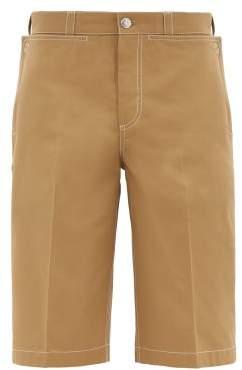 Burberry Topstitched Cotton Bermuda Shorts - Mens - Beige