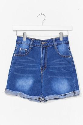 Nasty Gal Womens Roll Hem Denim Shorts - Blue