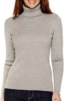 Liz Claiborne Long-Sleeve Ribbed Knit Turtleneck Sweater - Tall