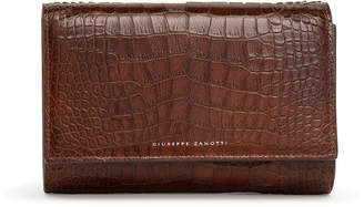 Giuseppe Zanotti Brown croco embossed leather clutch