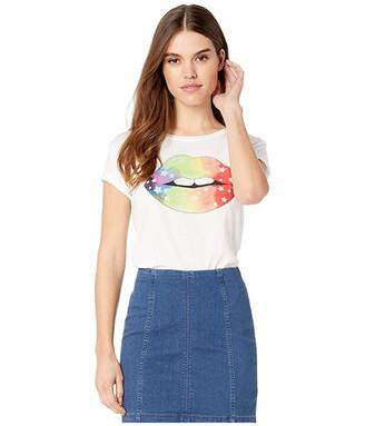 Chaser Rainbow Star Lips Vintage Jersey Tee (White) Women's Clothing
