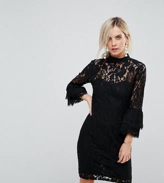 Paper Dolls Petite High Neck Midi Lace Dress with Double Frill Sleeve