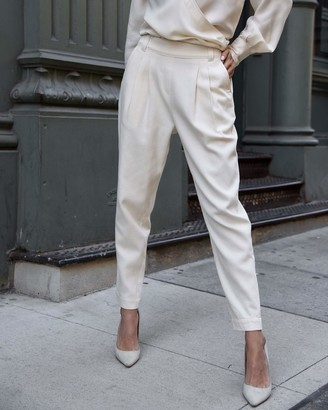 The Drop Women's Ecru Double Pleated High-Waist Pull-On Pant by @lisadnyc XS