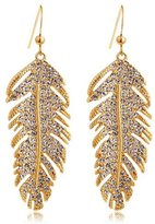 Alpha A A+ Gold-plated Feather-shaped Elegant Fashion Crystal Fisher-Hook Earrings with Imported Crystal (CF4138-E01)
