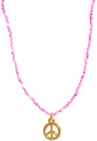 River Island Neon Pink Necklace With Peace Emblem