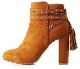 Charlotte Russe Bamboo Wrapped Tassel Ankle Booties