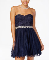City Studios Juniors Strapless Lace A-Line Dress