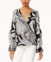 INC International Concepts Anna Sui Loves Petite Printed Ruffled Blouse, Created for Macy's