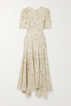 Veronica Beard Balsam Floral-print Broderie Anglaise Chiffon Dress - Cream