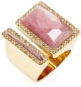 Maiyet 18K Yellow Gold, Pink Sapphire & 0.87 Total Ct. Diamond Geometric Divided Sculpt Ring